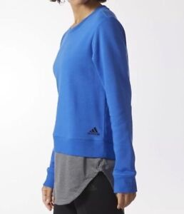 Adidas Sweatshirt Crew Dual Pullover Athletic Fitness Women M L Blue Gray NWT