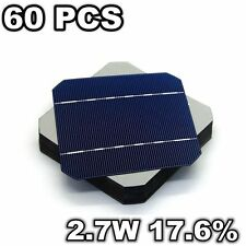 60 Pcs 5 x 5 Solar Cells 125MM Mono Grade A 2.7W 17.6% PV For DIY Solar Panel