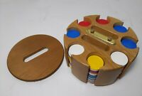 Vintage Mid Century Poker Chip Set Rotating Solid Wood Storage Caddy Carousel