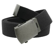 Men's Distressed Silver Slider Military Belt Buckle with Canvas Web Belt