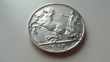 VERY RARE UNCIRCULATED SILVER COIN 10 LIRE 1927 FROM ITALY