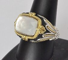 Konstantino White Mother of Pearl Ring Sz 9 Sterling Silver 18k Gold Nemesis