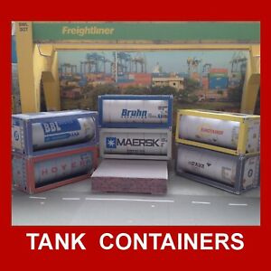 HO Gauge 1:87 Oil Tank Containers Rail Freight Rolling Stock Choose from list