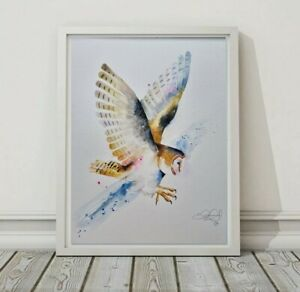 New Elle Smith large original signed watercolour art painting of Barn Owl Bird