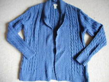 Womens Sweater-L.L. BEAN-blue cableknit 100% cotton open cardigan ls-PS