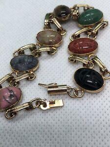 Vintage Double Chain Link Scarab Gemstone Gold Bracelet Barrel Clasp 14K ??