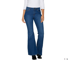 Susan Graver Stretch Denim Flare Leg Jeans Size Plus 18 Antique Denim Color