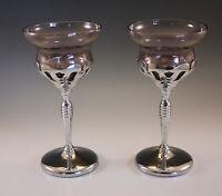 ART DECO CAMBRIDGE GLASS KROME KRAFT AMETHYST SET OF 2 WINE GOBLETS