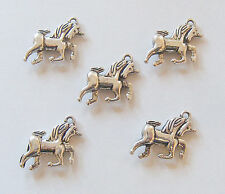 5 Unicorn Charms, Unicorn Pendants - 17mm - Antique Silver
