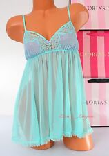 VS Victoria's Secret Lingerie Fly-away Tulle Babydoll Lace Unlined S Small Green