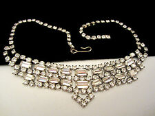 "Amazing Vintage 15""x1-1/4"" Rhodium Plated Clear Rhinestone Statement Necklace A1"