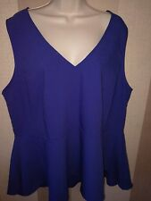 New Look Inspire Plus Size 24 - Blue Sleeveless Peplum Style Top