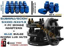 "5X100 TO 5X114.3 (5X4.5"") 20MM HUBCENTRIC WHEEL SPACERS+ 12X1.25 BLUE LUG NUTS"
