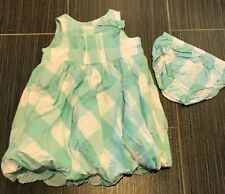 Janie & Jack Spring Celebration Aqua Bubble Easter Dress w/bloomer 18-24 mos EUC
