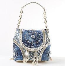 ladies denim blue rivet rhinestone shoulder handbag messenger chain small bag