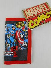 Captain America Red Black *Hook and Loop* Wallet Tri-Fold NEW NWT Marvel Comics