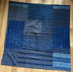 vintage new indigo dyed cotton ikat crane and tortoise Japanese vintage kimono fabric WhatsForPudding #2271