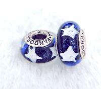 2 PANDORA Silver 925 Murano Charm White Stars in Night Blue Beads #337