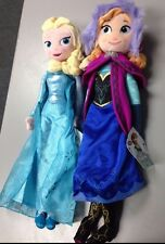 "Genuine Disney Store Frozen Beautiful Elsa & Anna Plush Dolls/ Pair 20"", NEW"