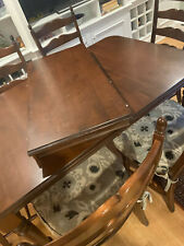 Solid wood kitchen table; 6-8 (expandable leaf); 6 chairs; upholstered cushions