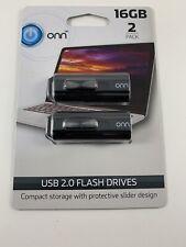 ONN USB 2.0 Flash Drives, 16 GB, 2 Pack NIP