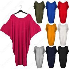 NEW LADIES SLOUCH SLASH NECK LONG BATWING TOP WOMEN OVERSIZED T-SHIRT LOOK DRESS