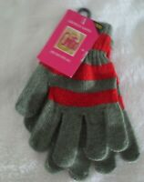 Griffin Ladies Chenille Glove Winter One Size Fits All Red/Gray New