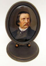 Antique Hand Painted Bronze Framed Male Miniature Porcelain Portrait 1900 German
