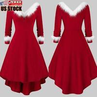 Women's Christmas Dress Long Sleeve Vintage V Neck Xmas Party Evening Mini Dress