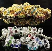 Rhinestone Crystal Spacer Gold Silver Big Hole Charm Beads Fit European Bracelet
