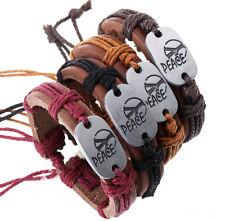 Mea Lots 12pcs Handmade Genuine Leather Peace Alloy pendant Bracelet for Gifts