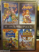 4-Movie Pack: Secret of Hunchback/Anastasia/Mulan/Moses Egypts (DVD, 2006), NEW