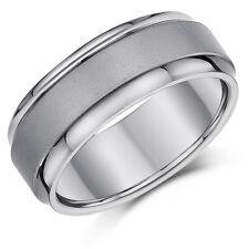 Titanium Wedding Engagement Ring Satin Centre 8mm Band Men's /Ladies Ring