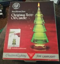 Vtg Lamplight Farms Hand Blown Glass Christmas Tree Oil Candle w/ Oil