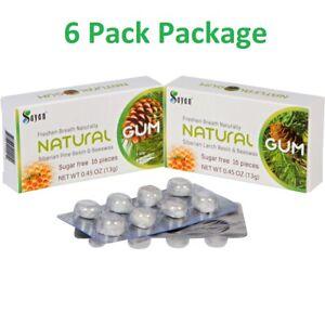 6 Pk Sayan Siberian Larch or Pine Tree Resin Chewing Gum - Sugar Free & Natural