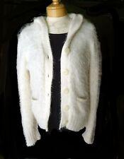 Sleeping on Snow Anthropologie hoodie cardigan Sweater  L Furry Eyelash Ivory