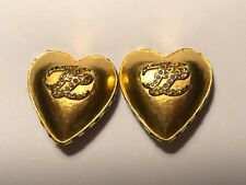 Karl Lagerfeld Signature Vintage Gold Tone & Crystals Heart Clip On Earrings