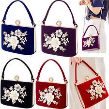 Flower Purse Rhinestones Velvet Clutch Evening Bags For Women Bridal Wedding Bag