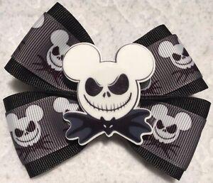 "Girls Hair Bow 4"" Wide Jack Skellington Ribbon Black Bat Bow Tie French Barrette"