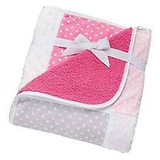 NWT Just Born Pink Grey Gray White Hearts Patchwork Popcorn Sherpa Baby Blanket