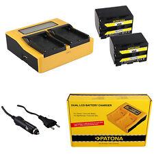 2x Batteria Patona + caricabatteria rapido DUAL LCD per Sony DCR-PC9E,DCR-TRV10
