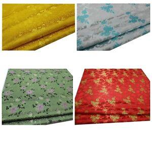 Faux Silk Brocade (Gold Peony Flora)Jacquard Damask Kimono Fabric Material*Bu12