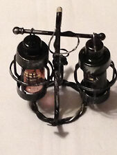 Vintage Nautical Hanging Lantern Lights Salt and Pepper Shaker on Anchor Stand