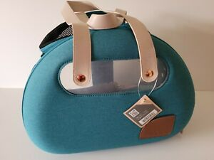 Ibiyaya Bubble Hotel Semi-Transparent Collapsible Small Pet Carrier Teal Blue