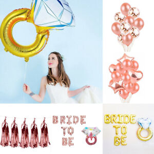 Bride To Be Diamond Rose Gold Letter Foil Balloons Banner Wedding Party Decor MG