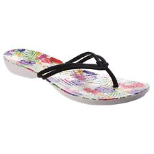 1770b23383d5 Crocs Toe Post Isabella Graphic Flip Black Blumenmuster 5 UK