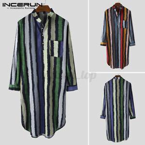 Mens Striped Nightshirt Pajamas Dress Nightwear Kaftan Sleepwear Bathrobe Tops