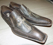 Carrucci By JC Studio Mens Pre-owned Size 8 Brown Shoes Slip on Loafer Cross