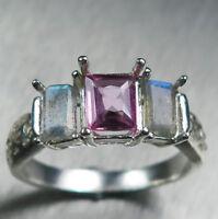 0.6ct Natural pink sapphire & labradorite 925 silver /14k 18k Gold Platinum ring
