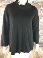 New Alfani Womens Cowl Neck Sweater Top Black SZ 3X Stretch Long Sleeve NWT